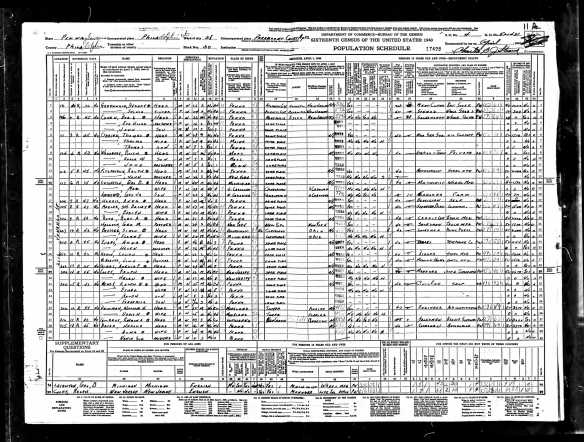 Year: 1940; Census Place: Philadelphia, Philadelphia, Pennsylvania; Roll: T627_3732; Page: 11A; Enumeration District: 51-1431
