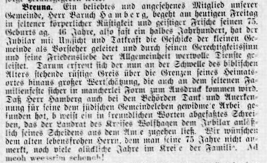 """Article about Baruch Hamberg's 75th birthday Jüdischen Wochenzeitung für Kassel, Kurhessen und Waldeck"""" vom 29. Mai 1931 http://www.alemannia-judaica.de/images/Images%20368/Breuna%20JuedWZKassel%2029051931.jpg"""