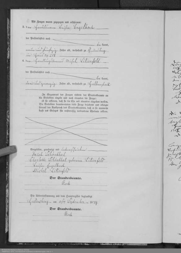 Marriage record of Jacob Schoenthal and Charlotte (Lottechen) Lilienfeld HStAMR Best. 920 Nr. 2610 Standesamt Gudensberg Heiratsnebenregister 1879, S. 11