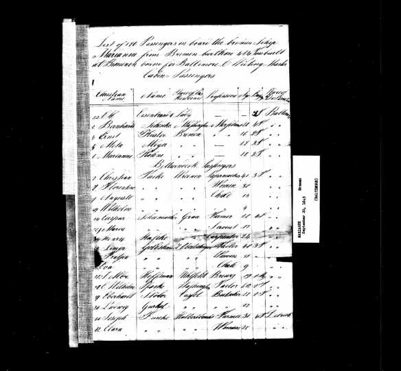 Passenger manifest for Simon Goldschmidt, Fanny Schoenthal and Eva Goldschmidt Ancestry.com. Baltimore, Passenger Lists, 1820-1964 [database on-line]. Provo, UT, USA: Ancestry.com Operations Inc, 2006. Original data: Selected Passenger and Crew Lists and Manifests. National Archives, Washington, D.C.