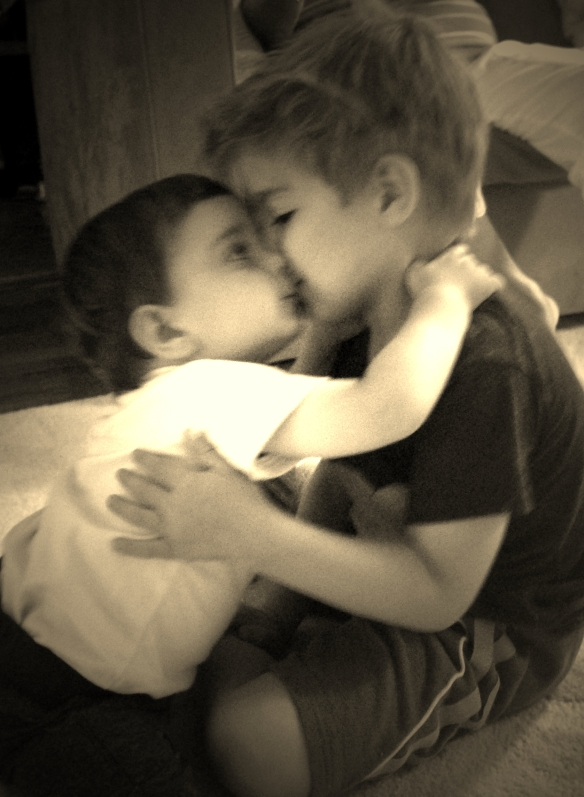 Sepia Remy and Nate kissing