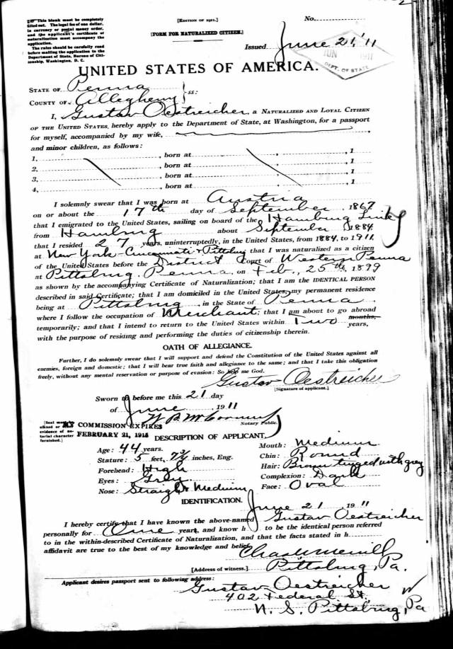 Gustav Oestreicher passport application National Archives and Records Administration (NARA); Washington D.C.; NARA Series: Passport Applications, January 2, 1906 - March 31, 1925; Roll #: 141; Volume #: Roll 0141 - Certificates: 55972-56871, 23 Jun 1911-05 Jul 1911