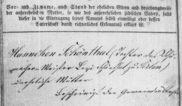 birth of Sarah Schoenthal, daughter of Hannah HHStAW fonds 365 No 772 p12