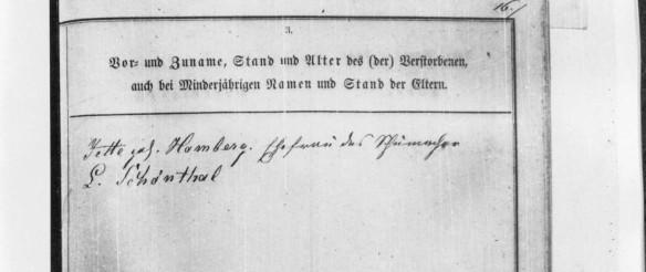 Henrietta Hamberg Schoenthal death record from Sielen HHStAW Abt. 365 Nr. 773, S. 10