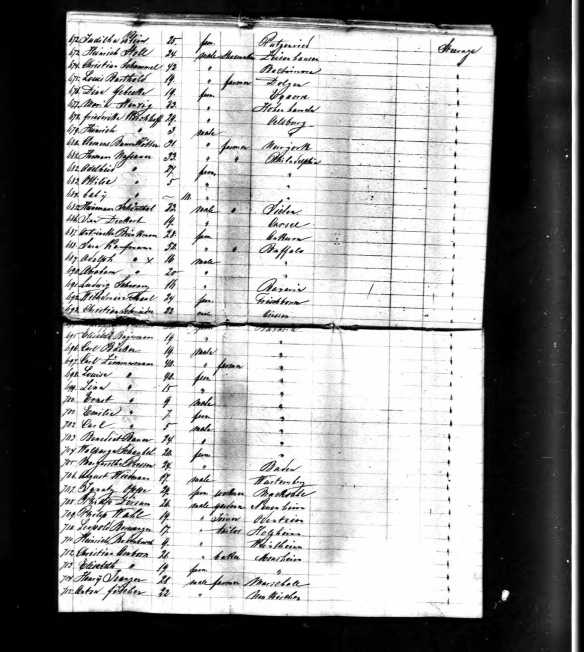 Henry Schoenthal 1866 ship manifest, line 85 Year: 1866; Arrival: New York, New York; Microfilm Serial: M237, 1820-1897; Microfilm Roll: Roll 267; Line: 1; List Number: 679