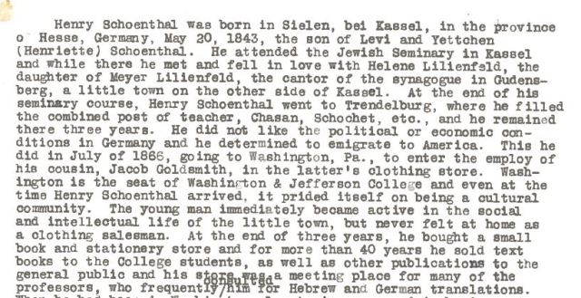 Hilda Schoenthal, Biography of Henry Schoenthal dated January 16, 1952. Available at the Marcus Center, Cincinnati, Ohio