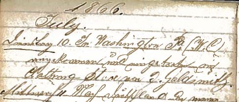 Diary of Henry Schoenthal 1866-1868 Available at the Marcus Center, Cincinnati, Ohio