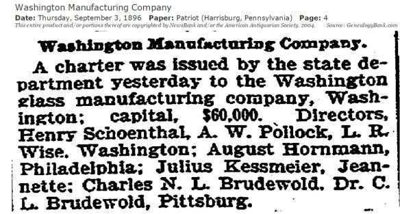 Henry Schoenthal Washington Glass Company