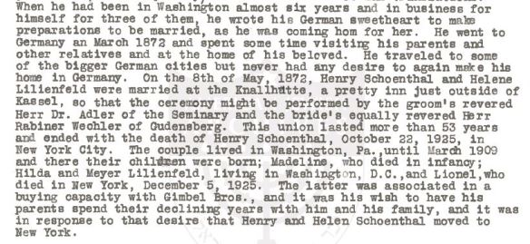 Hilda bio of Henry Schoenthal p 2
