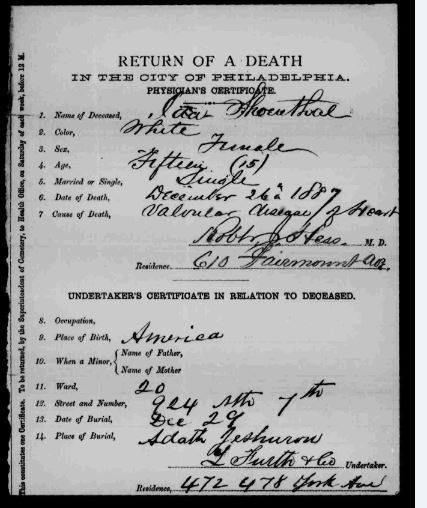 Ida Shoenthal death certificate