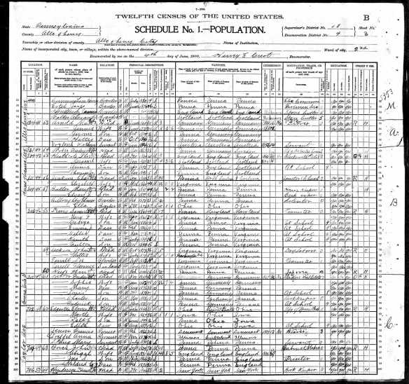Jennie and Max Arnold 1900 census Year: 1900; Census Place: Allegheny Ward 2, Allegheny, Pennsylvania; Roll: 1354; Page: 3B; Enumeration District: 0009; FHL microfilm: 1241354