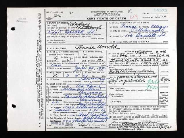 Ancestry.com. Pennsylvania, Death Certificates, 1906-1963 [database on-line]. Provo, UT, USA: Ancestry.com Operations, Inc., 2014. Original data: Pennsylvania (State). Death certificates, 1906–1963. Series 11.90