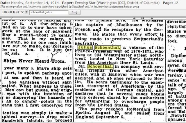 Julius Schoenthal news article re Germany WW I