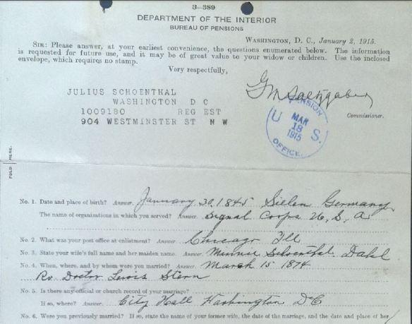 Julius Schoenthal pension file pt 1