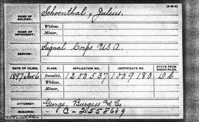 Julius Schoenthal pension index card U.S., Civil War Pension Index: General Index to Pension Files, 1861-1934