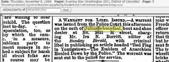 Julius Schoenthal sues paper for libel 1888