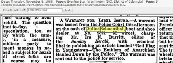 Julius Schoenthal sues paper for libel 1888