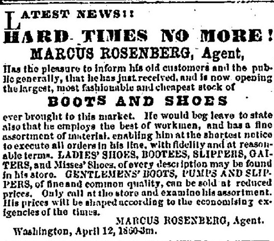 Advertisement Date: Thursday, July 19, 1860 Paper: Washington Reporter (Washington, Pennsylvania) Volume: LII Issue: 53 Page: 4