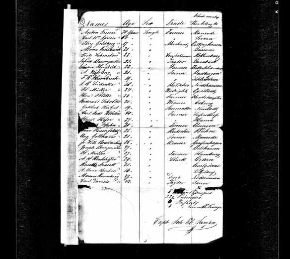 Marcus Rosenberg ship manifest National Archives and Records Administration (NARA); Washington, DC; Records of the US Customs Service, RG36; Series: M255; Roll: 8