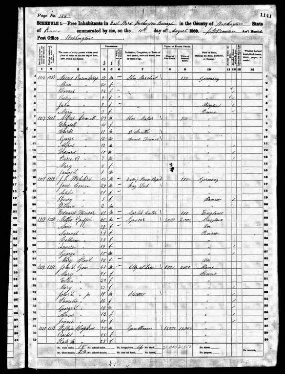 Markus Rosenberg and family 1860 US census Year: 1860; Census Place: Washington, Washington, Pennsylvania; Roll: M653_1192; Page: 1141; Image: 580; Family History Library Film: 805192