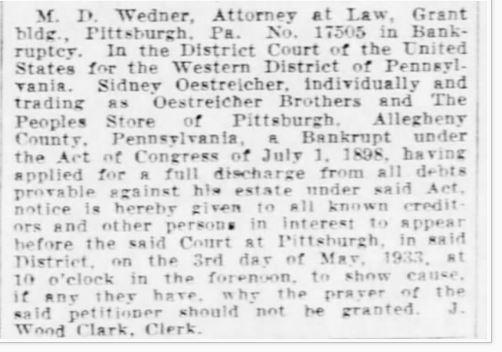 Pittsburgh Post-Gazette March 28, 1933 p. 18