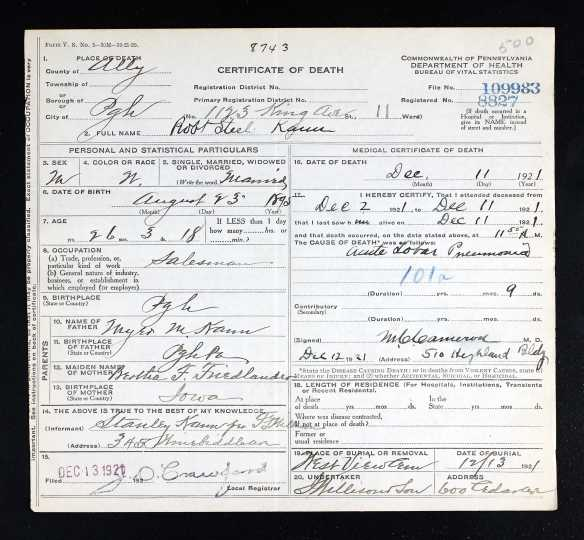 Robert Steel Kann death certificate Ancestry.com. Pennsylvania, Death Certificates, 1906-1963 [database on-line]. Provo, UT, USA: Ancestry.com Operations, Inc., 2014. Original data: Pennsylvania (State). Death certificates, 1906–1963. Series 11.90