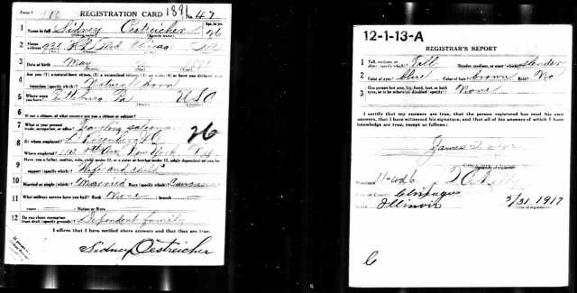 Sidney Oestreicher WW I draft registration Registration State: Illinois; Registration County: Cook; Roll: 1439758; Draft Board: 13