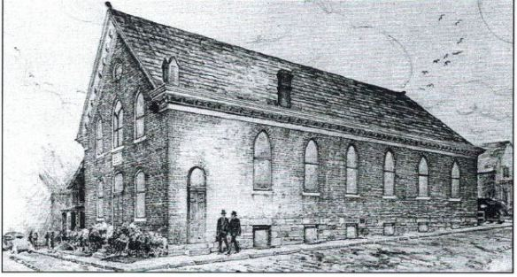 "Sketch of the original Beth Israel synagogue building. Courtesy of Marilyn Posner from her book, ""The House of Israel, A Home in Washington: 100 Years of Beth Israel Congregation, 1891-1991 / 5652-5752"