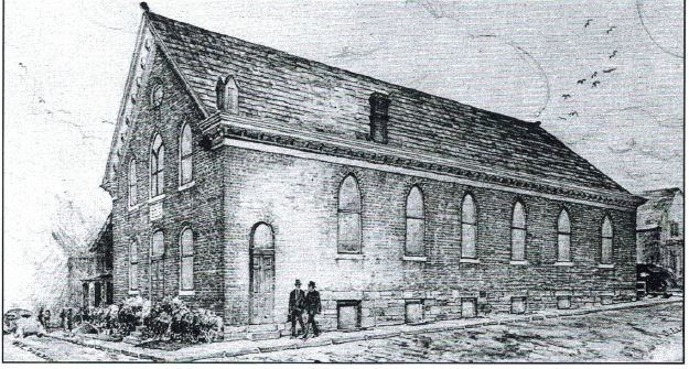 """Sketch of the original Beth Israel synagogue building. Courtesy of Marilyn Posner from her book, """"The House of Israel, A Home in Washington: 100 Years of Beth Israel Congregation, 1891-1991 / 5652-5752"""