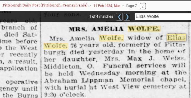Amelia Wolfe death notice