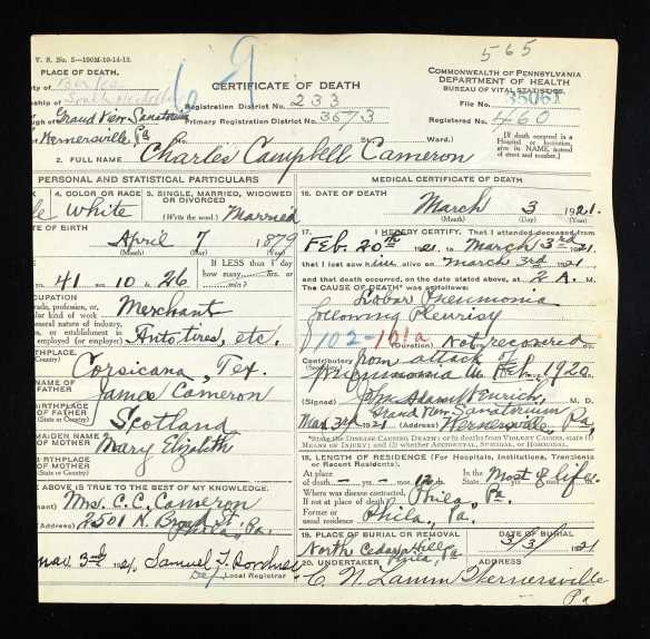 Charles Cameron death certificate Ancestry.com. Pennsylvania, Death Certificates, 1906-1963 [database on-line]. Provo, UT, USA: Ancestry.com Operations, Inc., 2014. Original data: Pennsylvania (State). Death certificates, 1906–1963. Series 11.90 (1,905 cartons). Records of the Pennsylvania Department of Health, Record Group 11. Pennsylvania Historical and Museum Commission, Harrisburg, Pennsylvania.