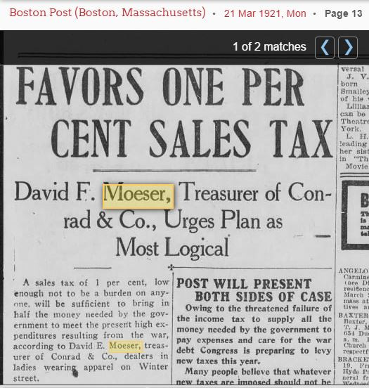 David Moeser on sales tax 1921