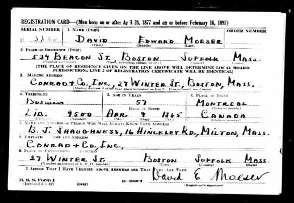 David Moeser World War II draft regisration The National Archives at St. Louis; St. Louis, Missouri; World War II Draft Cards (Fourth Registration) for the State of Massachusetts; State Headquarters: Massachusetts; Microfilm Series: M2090; Microfilm Roll: 107