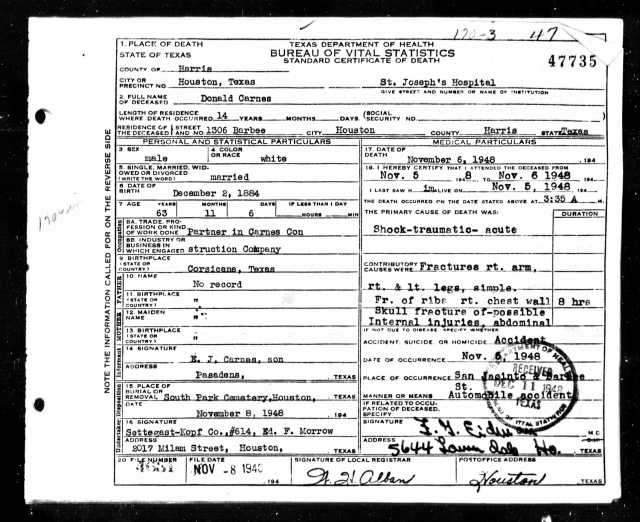 Ancestry.com. Texas, Death Certificates, 1903–1982 [database on-line]. Provo, UT, USA: Ancestry.com Operations, Inc., 2013. Original data: Texas Department of State Health Services. Texas Death Certificates, 1903–1982. iArchives, Orem, Utah.