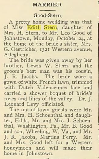 Edith Stern wedding snip