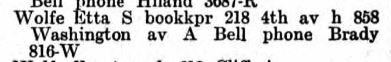 Etta Wolfe 1908 directory