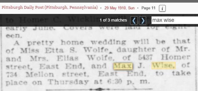 Etta Wolfe wedding notice