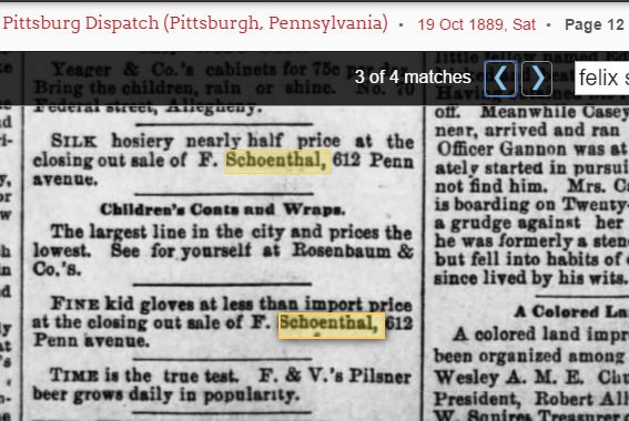 F Schoenthal store closeout october 1889