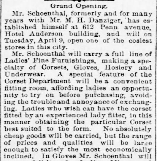 Felix Schoenthal 1889 new store