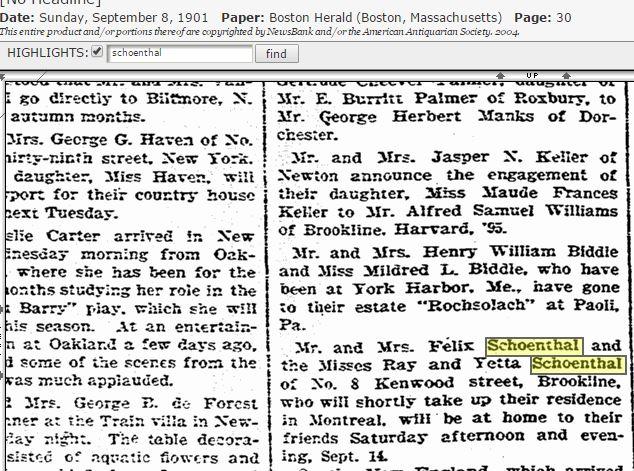 Felix Schoenthal move to Montreal 1901
