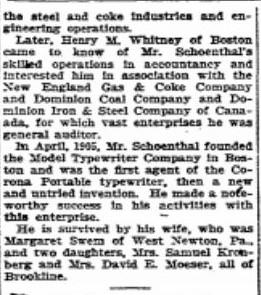 Felix Schoenthal obit Boston Herald 8 26 1926 p 6