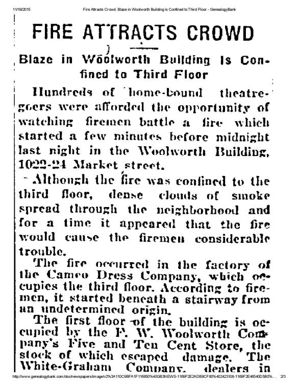Philadelphia Inquirer, February 22, 1922, p. 3