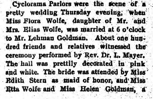 Flora Wolfe wedding pt 1 Jewish Criterion 6 2 1899