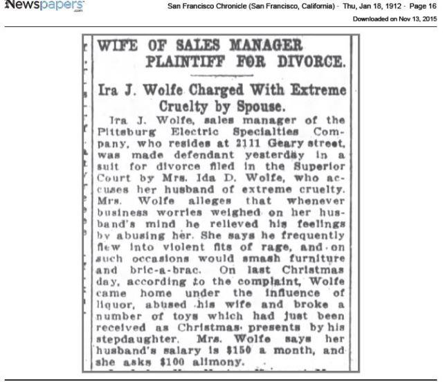 San Francisco Chronicle, January 18, 1912, p. 16