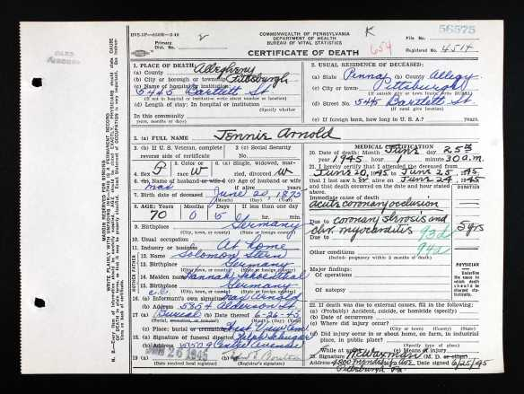 Jennie Stern Arnold death certificate Ancestry.com. Pennsylvania, Death Certificates, 1906-1963 [database on-line]. Provo, UT, USA: Ancestry.com Operations, Inc., 2014. Original data: Pennsylvania (State). Death certificates, 1906–1963. Series 11.90 (1,905 cartons). Records of the Pennsylvania Department of Health, Record Group 11. Pennsylvania Historical and Museum Commission, Harrisburg, Pennsylvania.
