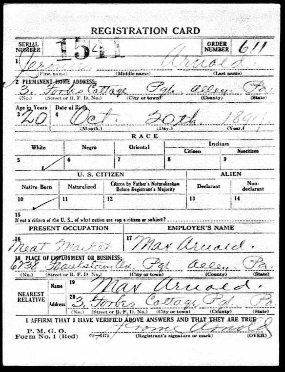 Registration State: Pennsylvania; Registration County: Allegheny; Roll: 1909238; Draft Board: 11