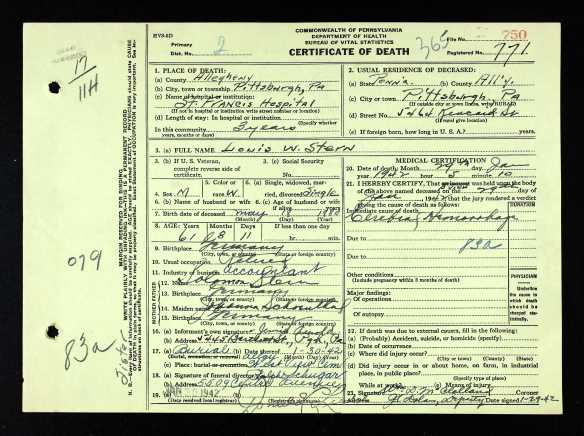 Louis W. Stern death certificate Ancestry.com. Pennsylvania, Death Certificates, 1906-1963 [database on-line]. Provo, UT, USA: Ancestry.com Operations, Inc., 2014. Original data: Pennsylvania (State). Death certificates, 1906–1963. Series 11.90 (1,905 cartons). Records of the Pennsylvania Department of Health, Record Group 11. Pennsylvania Historical and Museum Commission, Harrisburg, Pennsylvania.