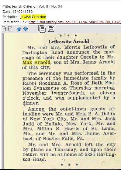 Jewish Criterion, December 2, 1932 http://digitalcollections.library.cmu.edu/portal/service.jsp?awdid=1&smd=1#