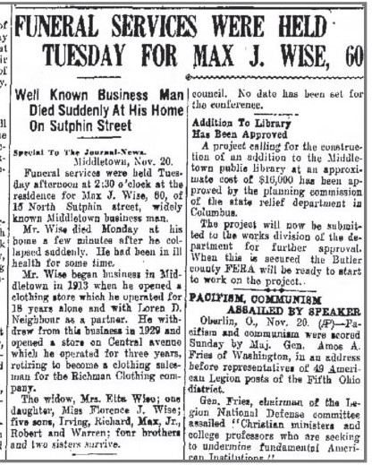 Obituary for Max J. Wise, The Journal News (Hamilton, Ohio) , November 20, 1934 p 2.