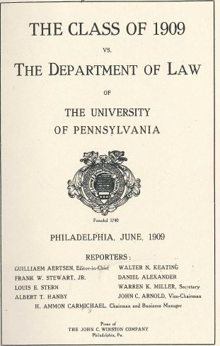 Penn Law 1909 Cameron